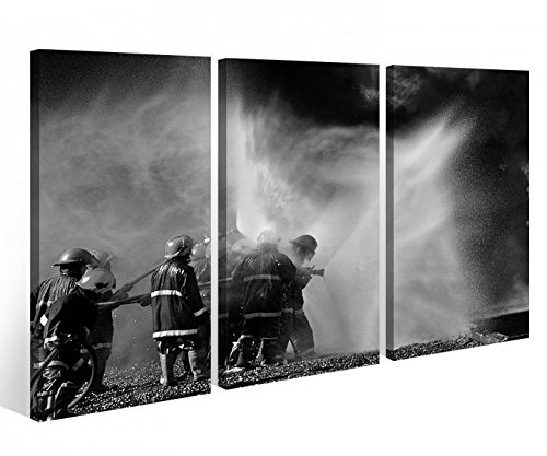 Leinwandbild 3 Tlg. Feuerwehr löscht Feuer Flammen Leinwand Bild Bilder Holz fertig gerahmt 9R748, 3 tlg BxH:90x60cm (3Stk 30x 60cm)