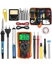 Vastar Lödkolvset etroniskt lödkolvsats 60 W, justerbar temperatur med digital multimeter, avlödningspump, lödstation, pincett, kabelskalare lödstation