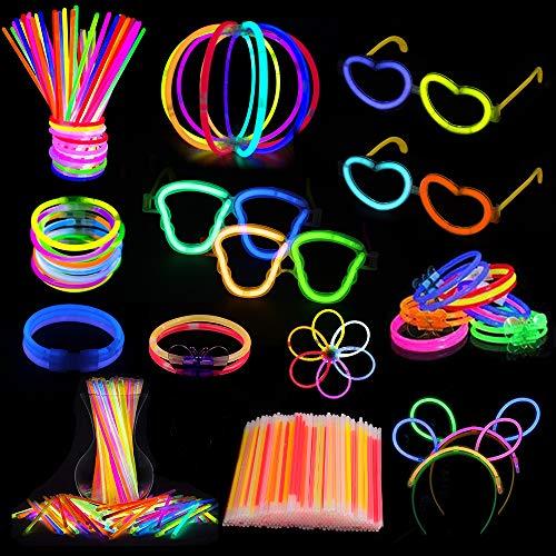 Anpro 512 STK Knicklichter Set,250 Knicklichter Leuchtstäbe in 8 Farben, Partylichter Halsketten Bälle Brillen Kid Party Geburtstag Erwachsene und Kinde