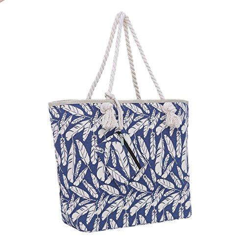 Bolsa de Playa Grande con Cremallera 58 x 38 x 18 cm Plumas Azul Beis Shopper Bolsa de Hombro Estilo de Playa (Beach Style)