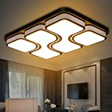 MYHOO 78W LED Blanco Cálido Luz de techo Diseño de moda moderna plafón,Lámpara de Bajo Consumo Techo para Dormitorio,Cocina,oficina,Lámpara de sala de estar,Color Negro (78W Blanco Cálido)