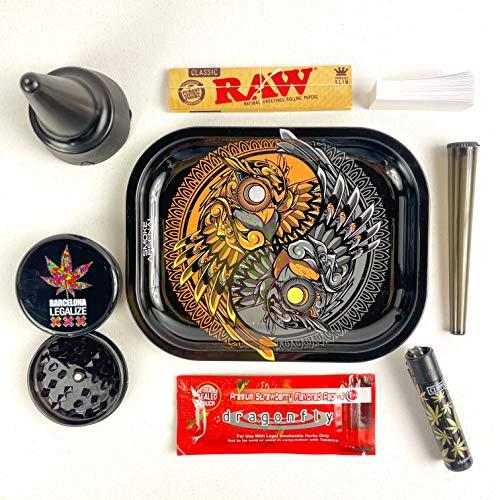Imagen del producto Kit para fumar - Bandeja de liar - Papel de liar sabor Fresa - Filtro papel - Mechero - Cenicero de Playa - Grinder - Pack Premium