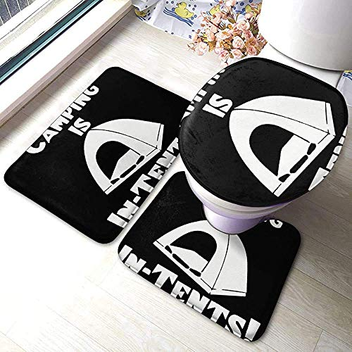 N \ A Camping is in-Tents 3 Piece Bathroom Rug Set, Anti-Skid Pads Bath Mat + Contour + Toilet Lid Cover