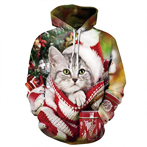 SHUKUN Sweatshirt trui Kerstmis Kitten Digitale Print Honkbal pak Coltrui