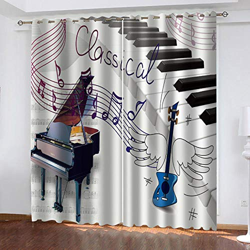 LWXBJX Cortinas Dormitorio Opacas Suaves con Ojales - Instrumento Musical música Piano - Impresión 3D Aislantes de Frío y Calor 90% Opacas Cortinas - 280 x 260 cm - Salon Cocina Habitacion Niño Moder