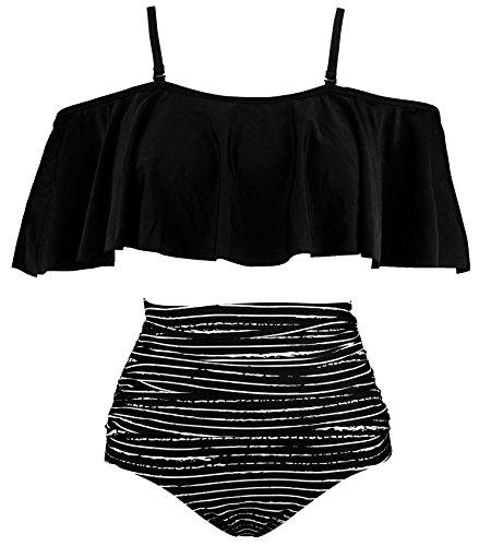 COCOSHIP Black Striped & White Balancing Act Ruffled Bikini...