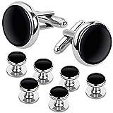 Ducomi - Conjunto de Gemelos y 6 Botones de Camisa para Hombres - Accesorio Elegante Ideal para Reuniones de Negocios y Ocasiones Especiales (Silver/Black)