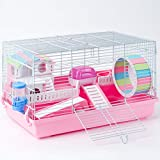 ROBUD Large Hamster Cage Gerbil Haven Habitat Small Animal Cage (Pink)