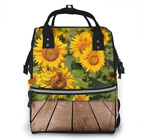 JUKIL Mochila de pañales Sunflower Field On Wooden Mummy Backpack Diaper Bag Large Capacity Travel Backpack Multi-Function Nappy Nursing Bag
