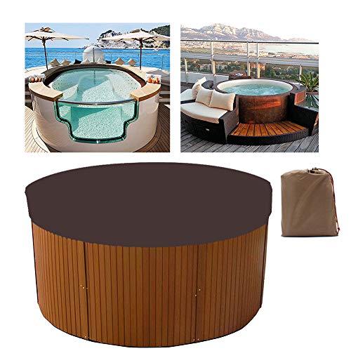 HEWYHAT Cubierta Redonda de bañera de hidromasaje, Exterior 100% UV y Resistente a la Intemperie Cubierta de SPA Cubierta de protección Solar Reemplazo de Muebles,Café,200×30cm