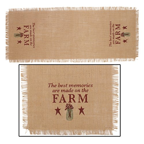 The Country House Collection Red Best Memories Made On Farm 13 x 36 Burlap Embroidered Applique Table Runner
