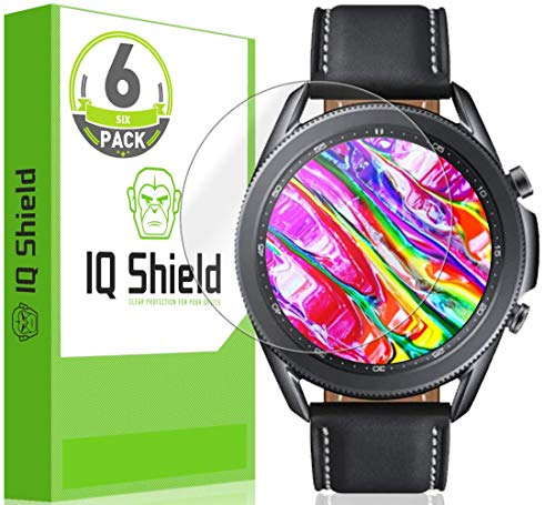 IQ Shield Screen Protector Compatible with Samsung Galaxy Watch 3 (45mm)(6-Pack) Anti-Bubble Clear Film