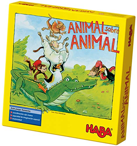 HABA ESP (3409), Juego de apilamiento para 2-4 Jugadores a Partir de 4 años, con Figuras de Animales de Madera, también se Puede Jugar en...