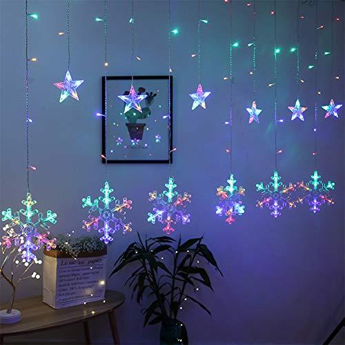 Towinle LED Lichterkette Sternen Schneeflocke Lichtervorhang 138 LEDs Led Schneeflocke Sternenvorhang mit Netzstecker 8 Lichtermodi Led Kette Weihnachten Party Fester Deko