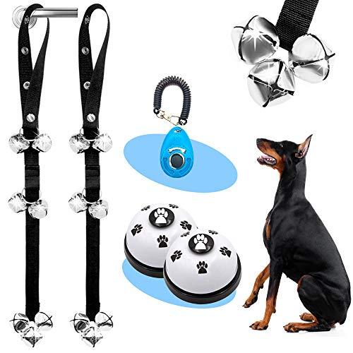 Supet Dog Doorbells Premium Dog Potty Training Bells Adjustable Dog Bells for Dog Door Knob, Puppy Training- 4 Pack(2 Door Bells/2 Training Bells)