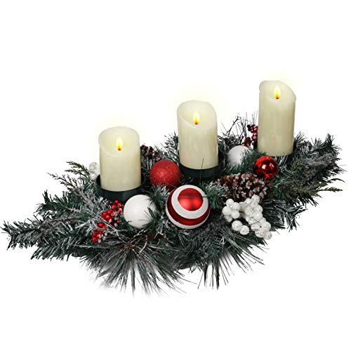 Valery Madelyn 30 inch Traditional Red White Christmas Candle Holder with Berry Pine Cone and Ball Ornaments,Candleholders,Candelabrum for Centerpiece& Tabletop Decor(Excluded Candles)