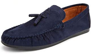 HBSSEE Casual Driving Loafer for Men Moccasins Boat Shoes Slips On Faux Suede Leather Vamp Decor with Ropes