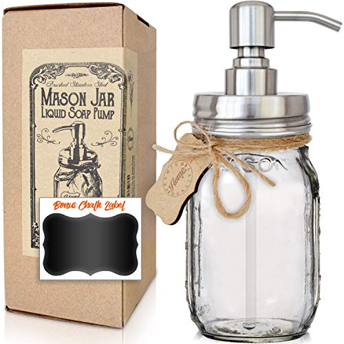 Premium Modern Farmhouse Style Liquid Soap Dispenser | Rust Proof | Glass Mason Jar | 304 Stainless Steel Pump | Lotion Pump | Includes Chalk Label (16oz, Silver, Rustproof)