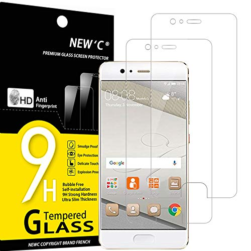 NEW'C Lot de 2, Verre Trempé Compatible avec Huawei P10, Film Protection écran sans Bulles d'air Ultra Résistant (0,33mm HD Ultra Transparent) Dureté 9H Glass