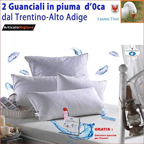 2 Guanciale in Piuma D\'Oca LAUNEN TIROL, Cuscini Letto con Imbottitura 100{d4eb8fc3fa65ffeb884d371b66bb9e7d107395852b9a6d58c4cb95204b2df28d} Piume Vere lavate e sterilizzate, Federa Puro Cotone Egiziano + Detersivo e istruzioni lavagggio Gratis (cm 50x80 h 18)