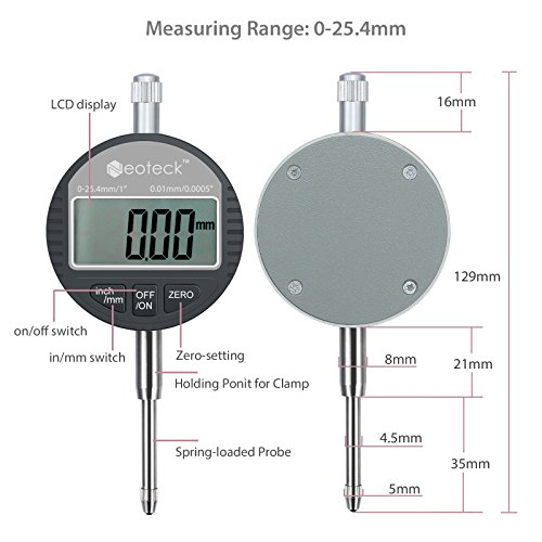 Neoteck DTI Digital Dial Indicator 1''/25.4mm | Digital Probe Indicator Dial Test Gauge High Resolution: 0.0005''/0.01mm