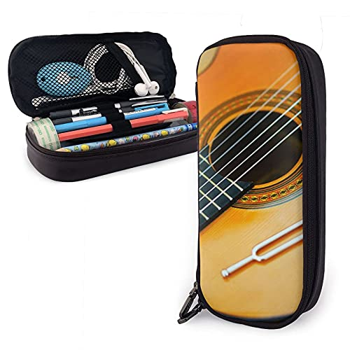 Estuche para lápices de cuero con cuerdas de guitarra clásica, estuche para lápices de gran capacidad, estuche para lápices, estuche para maquillaje, estuche para cosméticos, útiles escolares