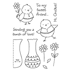 "Honeypop Clear Stamp Set 4""X5.25""-Flower Chick"