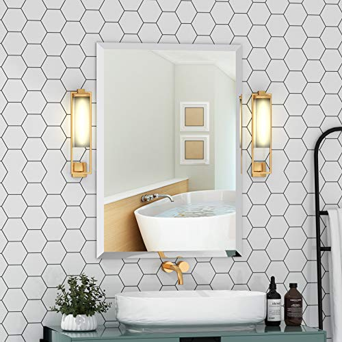 KOHROS Rectangle Beveled Polished Frameless Wall Mirror for Bathroom, Vanity, Bedroom (20