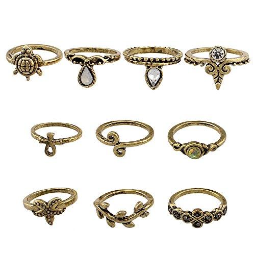 Union Tesco 10Pcs Orientalisches Vintage Midi Ring Midiringe Set,Vintage Fashion Frauen Midi Ring Nagel Finger Band (Gold)