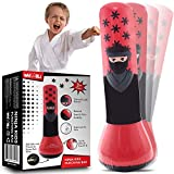 whoobli Ninja Inflatable Kids Punching Bag, Inflatable Toy Punching Bag for Kids, Bounce-Back Bop Bag for Play, Boxing, Karate, Anger Management, Toys Age 3 4 5 6 7, Gifts for Kids 3-7
