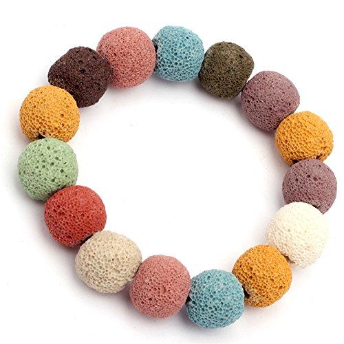 SHG Shop 14mm Perlen Bunt Kreis Seil gef?rbt Lavastein 7 Zoll-Gummiarmband
