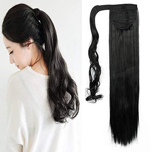 Clip para el cabello con extensión de cola de caballo en extensiones de envoltura de cola de caballo de tupé negro liso 58cm-120g, negro
