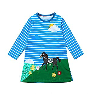 erthome Toddler Baby Girl Autumn Clothes Horse Print Embroidery Princess Party Dress (4 Years Old, Blue):Hashflur