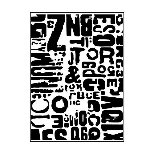 Carabelle Studio Cartella per Goffratura Mascherina Stencil Testo Grunge, Plastic, Transparent, 10.8x14.6x0.11 cm