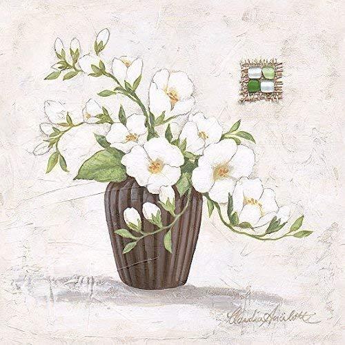 Leinwand-Bild - Claudia Ancilotti: Nanni 20 x 20 cm Stillleben mpdern Landhaus Blumen Vase Blüten Zweige