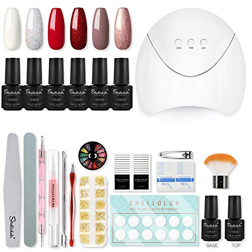 Shelloloh Complete Nagel Gel Kit 6st Semi Permanente Nagellak 36W LED Lamp Semi Permanente Manicure Kit