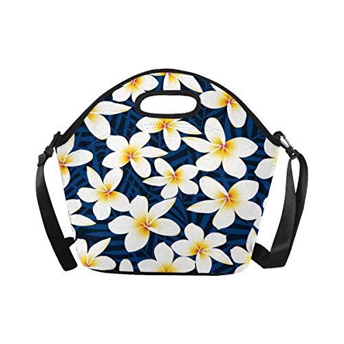 InterestPrint Lunch Tote Bag White Plumeria Waterproof Lunchbox Handbag