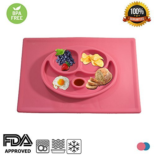 Silicone Kids Dish Mat with Three Separate Parts for Food Plus Bonus Condiment Space, Great for Babies, Toddlers & Elderly; Dishwasher / Microwave-Safe; Easy to Travel and Use on the Go