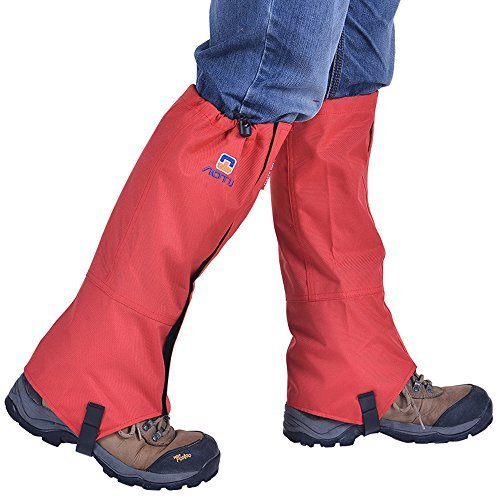 Winis Snow Gaiters Hiking Camping Mountain Climbing Leg Gaiters Oxford Waterproof Dustproof Antiwater Leg Cover Breathable Anti-bite High Gaiters Leg Protection Guard Boot Guardian (1 Pair) (Red)