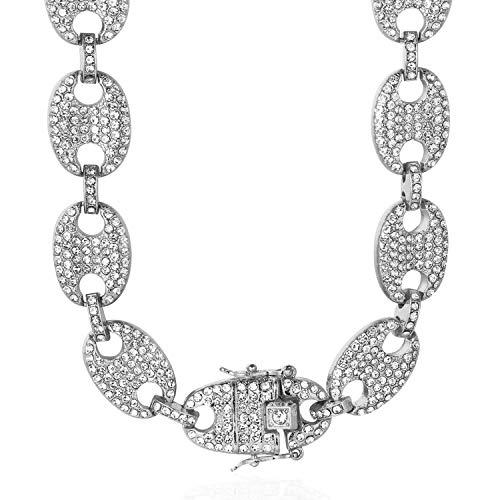 Halukakah Diamant Chaîne de Grains de Café pour Homme,13MM Platine Or Blanc Fini Diamants Blancs Collier 45cm,Diamants de Laboratoire,avec Coffret Cadeau Gratuit