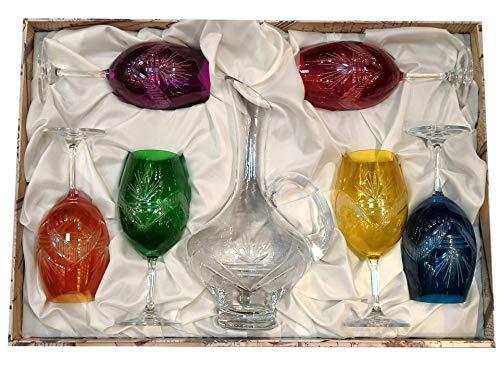 CRISTALERIA BOHEMIA Juego DECANTADOR 7 Piezas 6 Copas Vino Colores