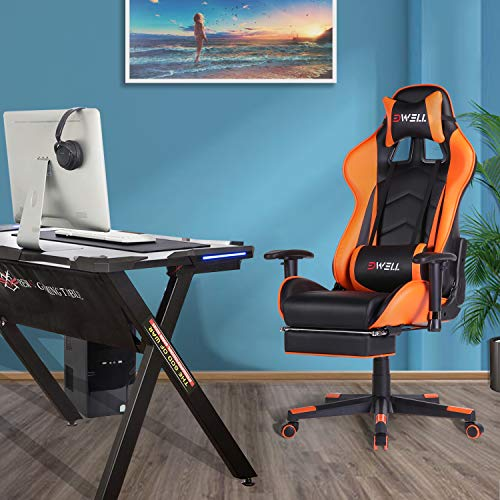 EDWELL Gaming Chair Office Chair with Footrest,High Back Computer Gaming Chair, Racing Style Ergonomic Chair PU Leather Desk Chair with Headrest and Massage Lumbar Support, Orange