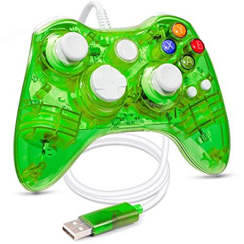 LUXMO PREMIUM Wired Controller for Xbox 360,Xbox 360 Controller USB Gamepad PC Wired Joypad for Xbox 360/Xbox 360 Slim/Windows 7 8 10 Game (Green)