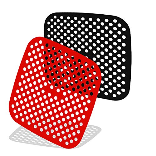 8.5 Inches Reusable Air Fryer Liners, 2Pcs Square Silicone Air Fryer Liners Compatible With Philips, Cozyna, Secura, Nuwave, Chefman, Gowise Usa, Black+Decker, Cosori