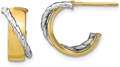 Solid 14k White Gold Two-tone and Textured Small J-Tube Hoop Earrings - 14mm x 14mm
