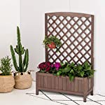 """Raised Garden Bed Outdoor Planter Box with Trellis for Flower Standing Vertical Lattice Panels for Vine 31"""" L x 12"""" W x 47"""" H 10 OVERALL DIMENSIONS: 31.1""""(L) x 12.2""""(W) x47.2""""(H).garden raised bed perfect for all kinds of plants, anywhere - gardens,yard, terraces, balconies, corridors,patios, turn your space into a green one. Garden planter with trellis creates a good stable environment for your creeping and vine plants.Any kind of Light gardening tools and beautiful decorations can be hung on the trellis to beautify your garden. Reinforced thick frame supported flower box can strongly hold for the heavy plants,soil, water. Large space to grow anything from flowers to vegetables to herbs,it can serve a decorative work,also fully plays it practical role."""