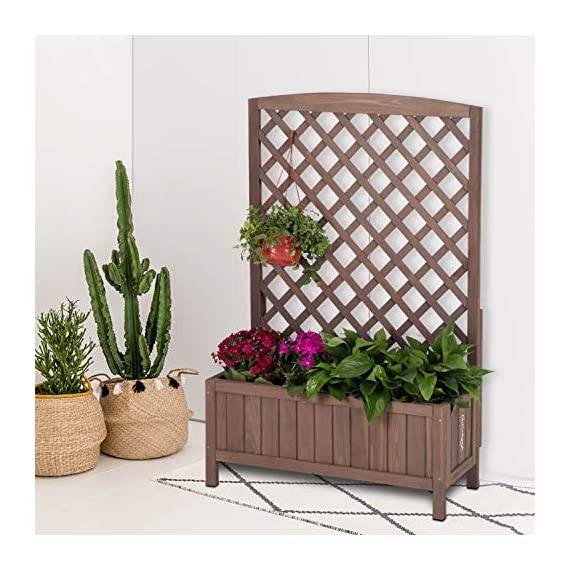 """Raised Garden Bed Outdoor Planter Box with Trellis for Flower Standing Vertical Lattice Panels for Vine 31"""" L x 12"""" W x 47"""" H 4 OVERALL DIMENSIONS: 31.1""""(L) x 12.2""""(W) x47.2""""(H).garden raised bed perfect for all kinds of plants, anywhere - gardens,yard, terraces, balconies, corridors,patios, turn your space into a green one. Garden planter with trellis creates a good stable environment for your creeping and vine plants.Any kind of Light gardening tools and beautiful decorations can be hung on the trellis to beautify your garden. Reinforced thick frame supported flower box can strongly hold for the heavy plants,soil, water. Large space to grow anything from flowers to vegetables to herbs,it can serve a decorative work,also fully plays it practical role."""