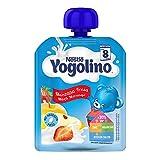 Nestlé Yogolino Postre lácteo Bolsitas con Manzana y Fresa, para bebés a partir de 8 meses - Bolsita de 90 gr