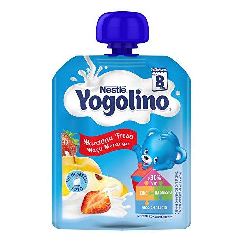 Nestlé Yogolino Postre lácteo Bolsitas con Manzana y Fresa, para bebés a...
