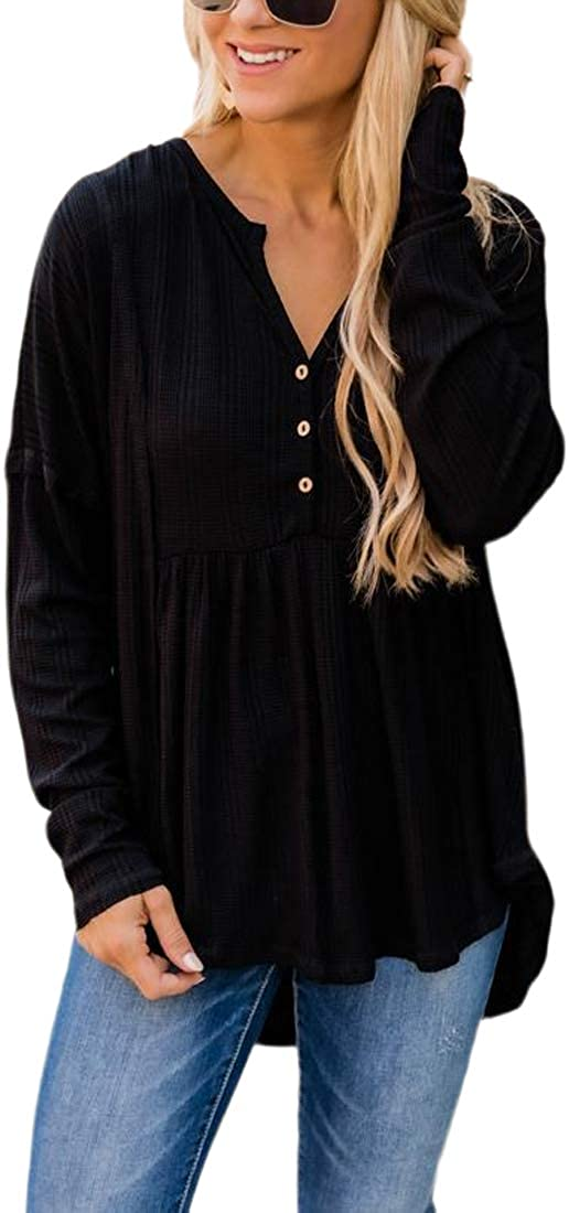 Fronage Womens V Neck Long Sleeve Shirts Casual Peplum Tops Loose Babydoll Tunics with Buttons